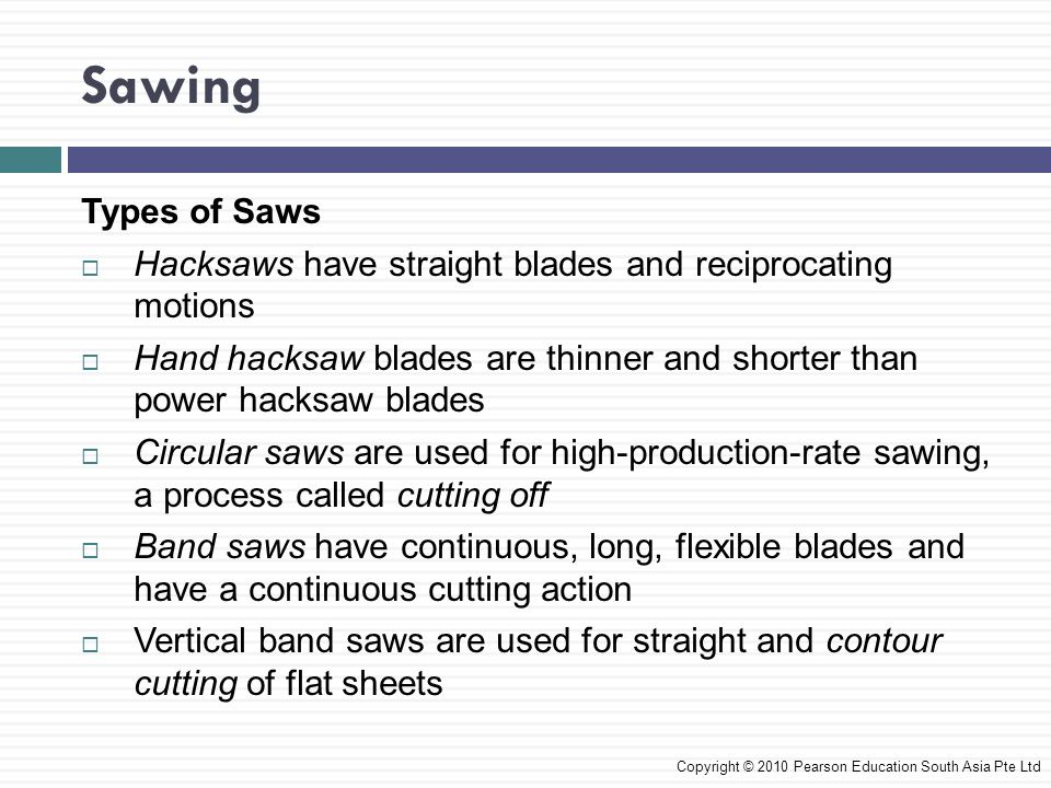 Sawing Types of Saws. Hacksaws have straight blades and reciprocating motions.