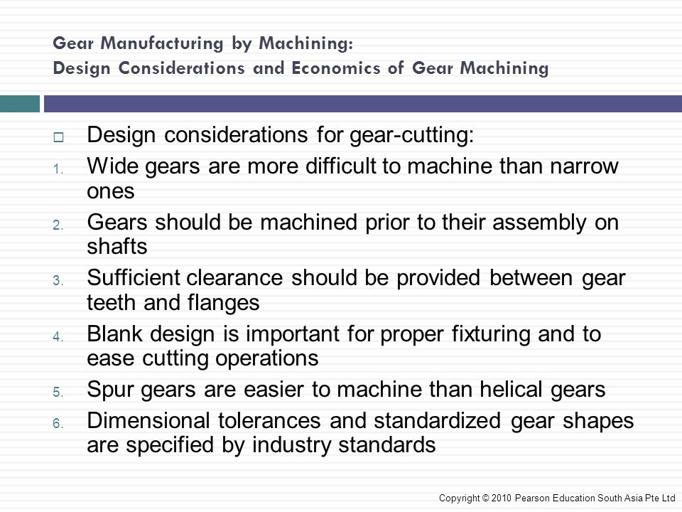 Design considerations for gear-cutting: