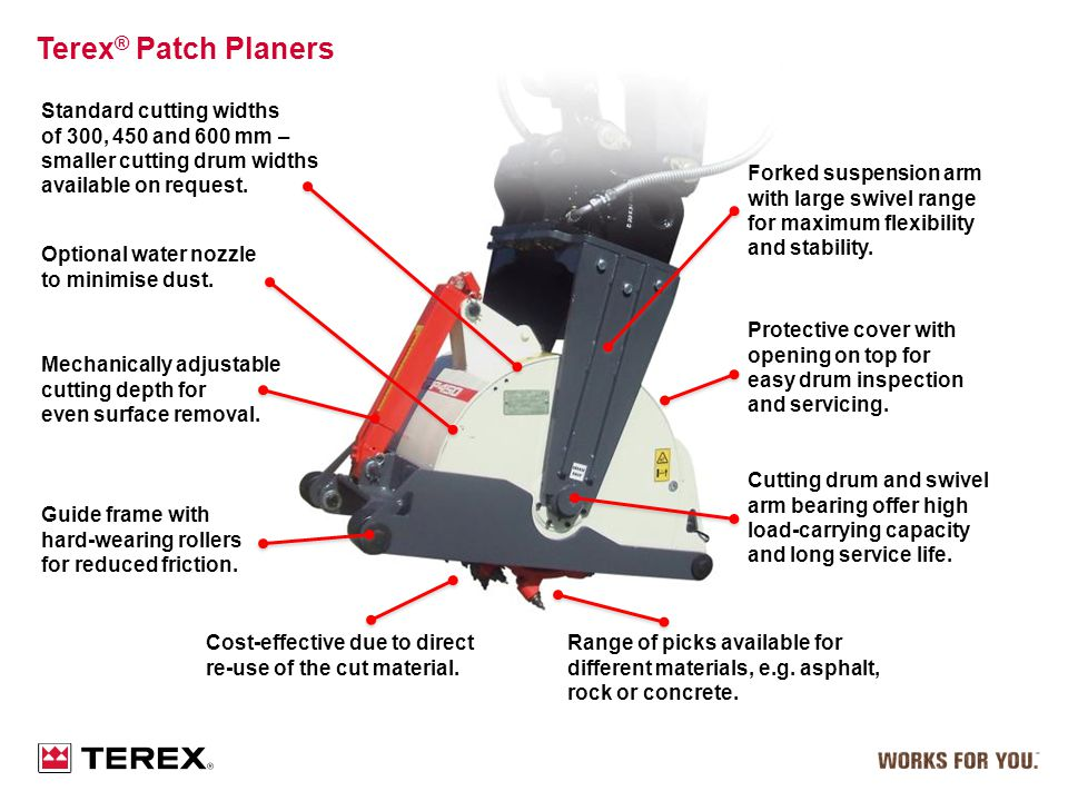Terex® Patch Planers Standard cutting widths of 300, 450 and 600 mm –