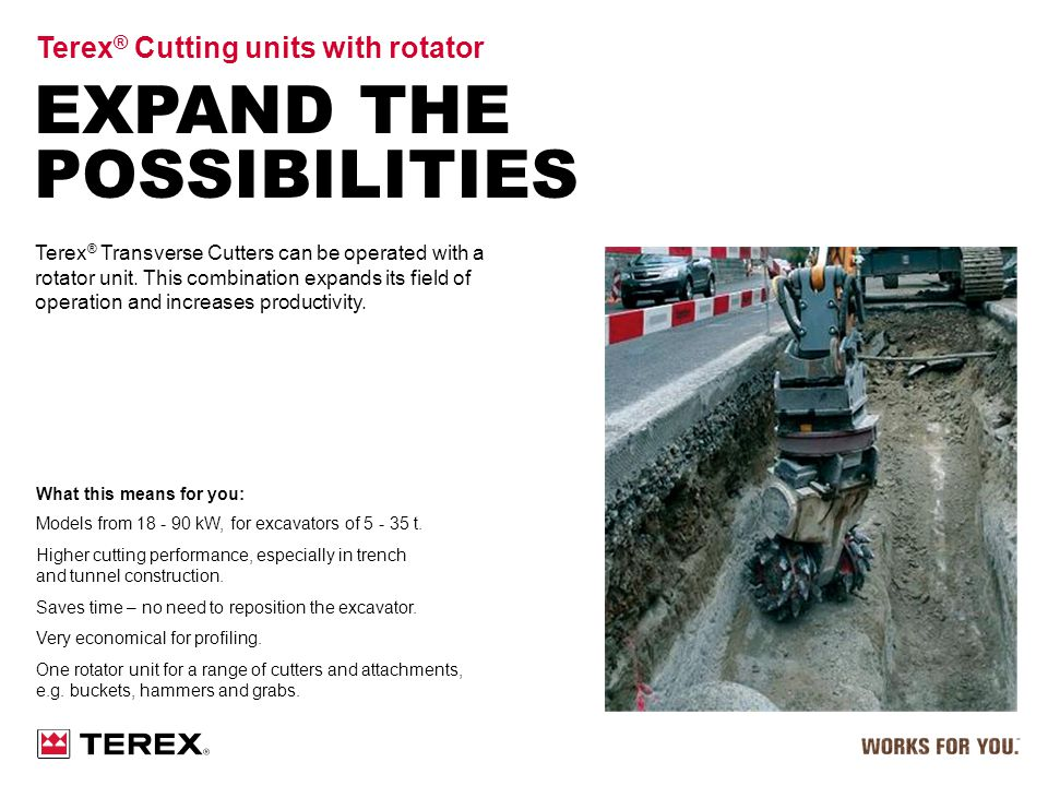 Expand the possibilities Terex® Cutting units with rotator