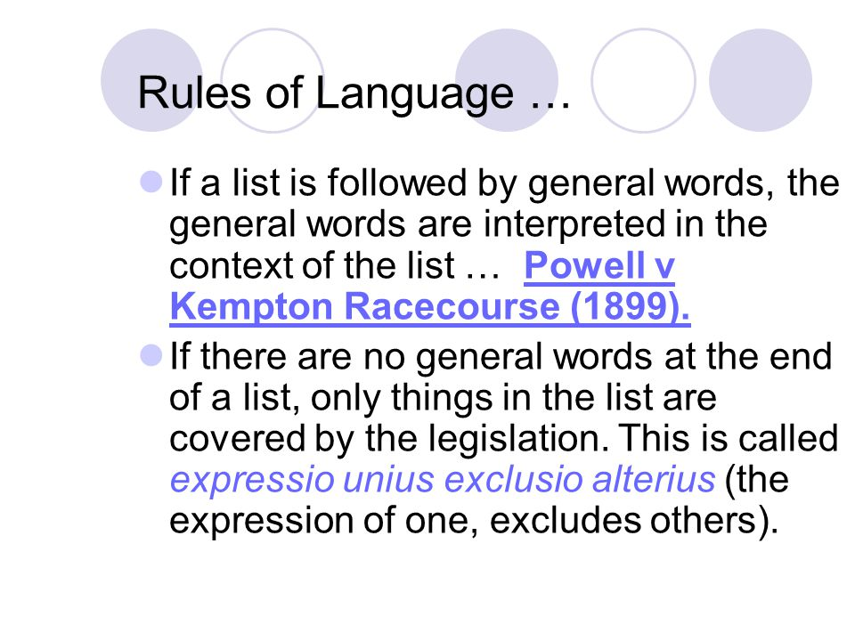 Rules of Language …
