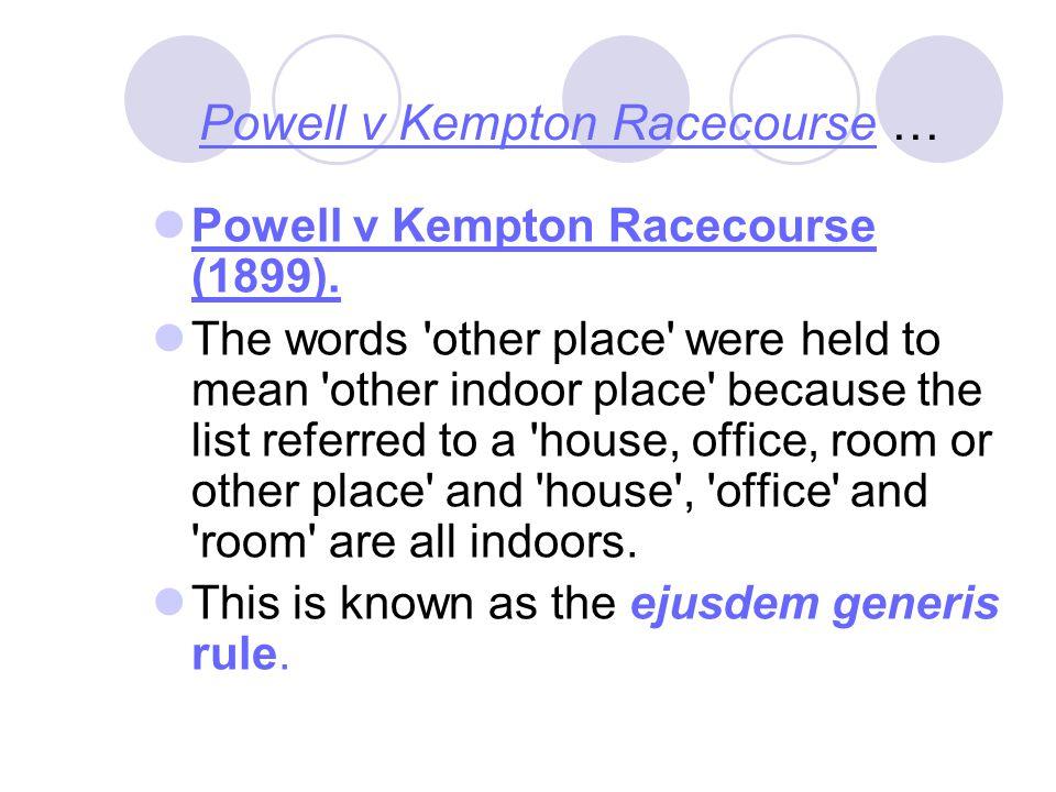 Powell v Kempton Racecourse …
