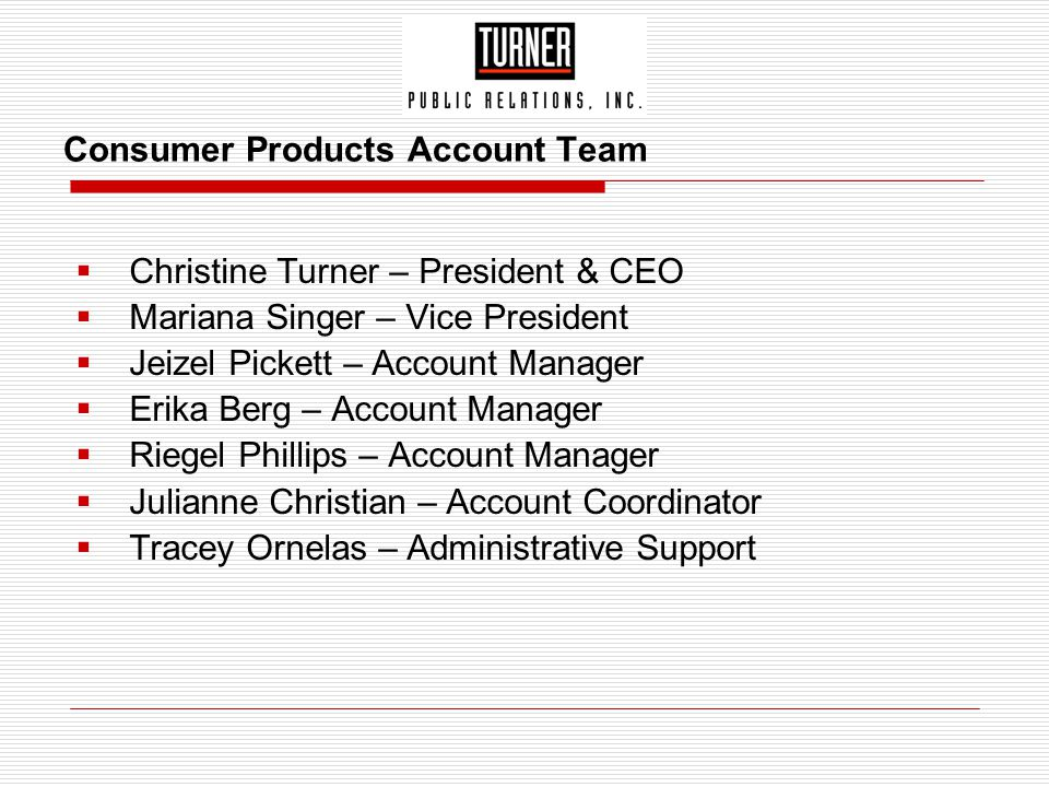 Consumer Products Account Team