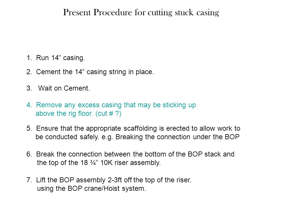 Present Procedure for cutting stuck casing
