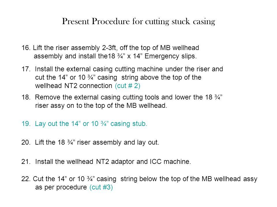Present Procedure for cutting stuck casing