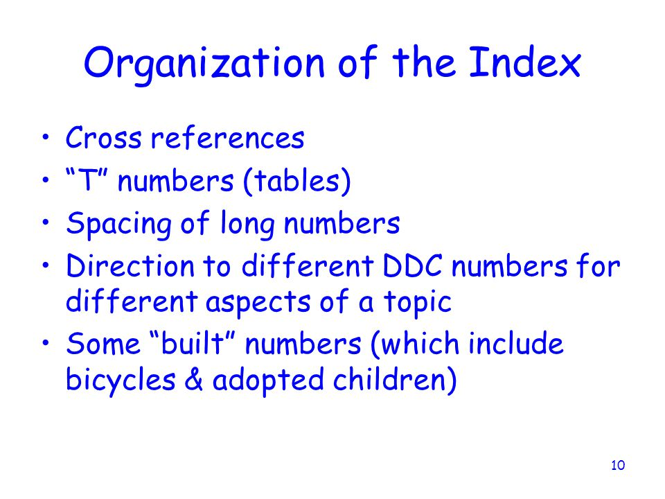 Organization of the Index
