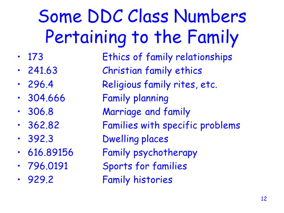 Some DDC Class Numbers Pertaining to the Family