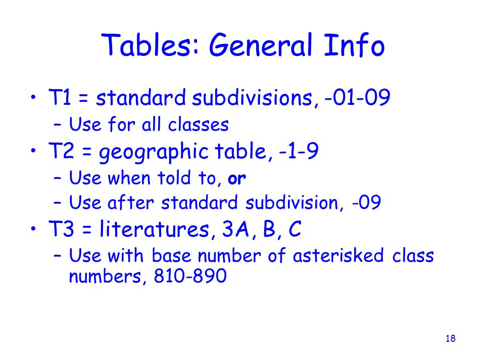 Tables: General Info T1 = standard subdivisions, -01-09