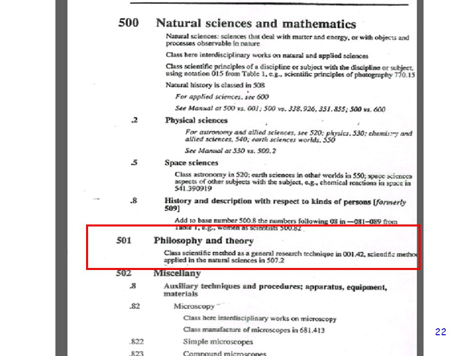 Note: no summary; no note about T1 application—only this example, from which you extrapolate the other T1 applications—503 would be dictionaries/encyclopedias about natural history/mathematics