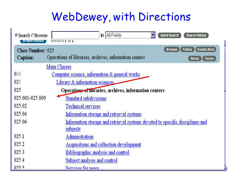 WebDewey, with Directions