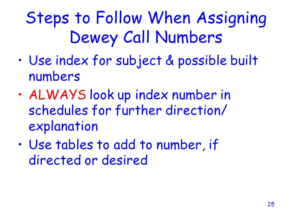 Steps to Follow When Assigning Dewey Call Numbers