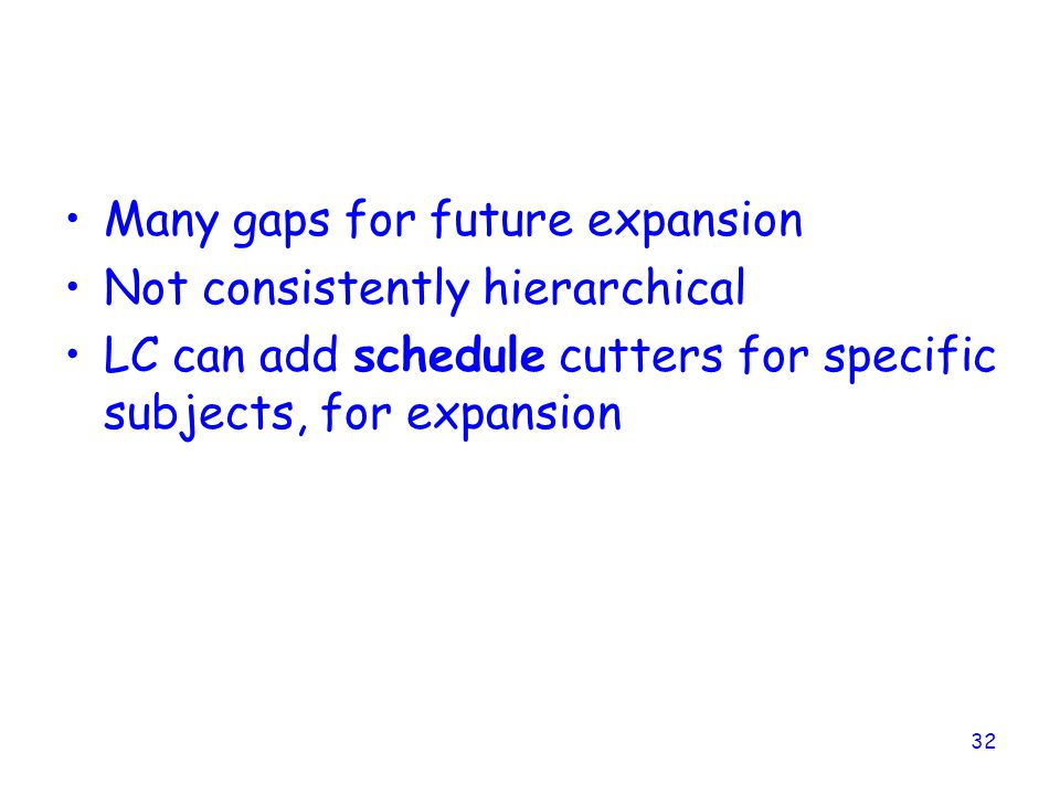 Many gaps for future expansion Not consistently hierarchical