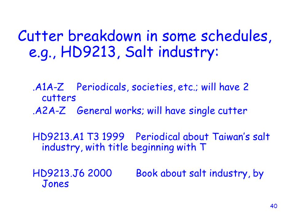 Cutter breakdown in some schedules, e.g., HD9213, Salt industry: