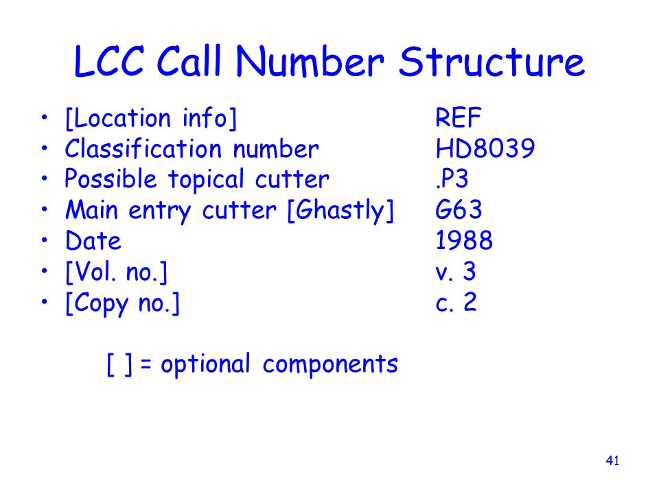 LCC Call Number Structure
