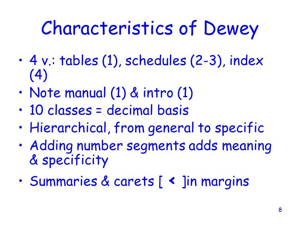 Characteristics of Dewey