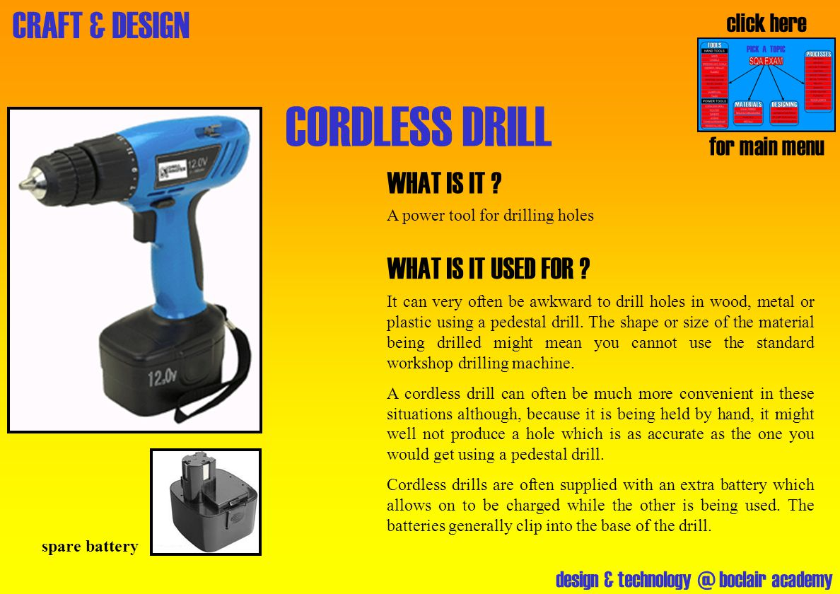 CORDLESS DRILL WHAT IS IT WHAT IS IT USED FOR click here