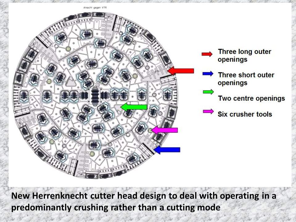 New Herrenknecht cutter head design to deal with operating in a predominantly crushing rather than a cutting mode