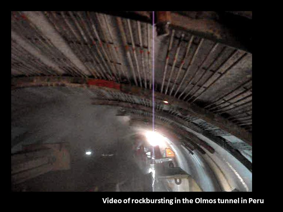 Video of rockbursting in the Olmos tunnel in Peru