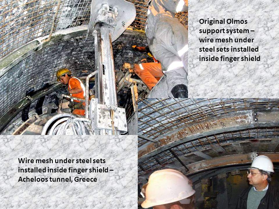 Original Olmos support system – wire mesh under steel sets installed inside finger shield