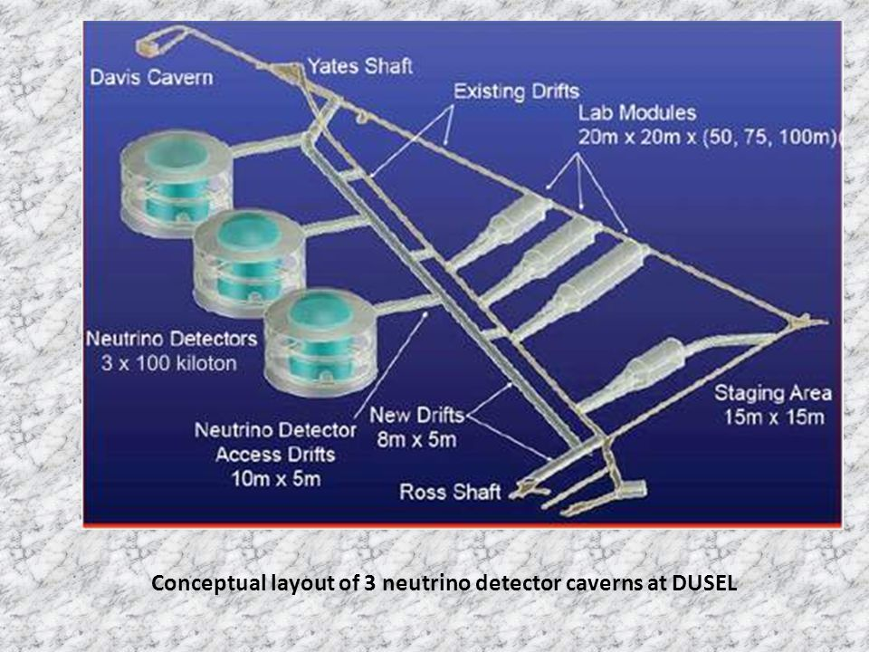 Conceptual layout of 3 neutrino detector caverns at DUSEL