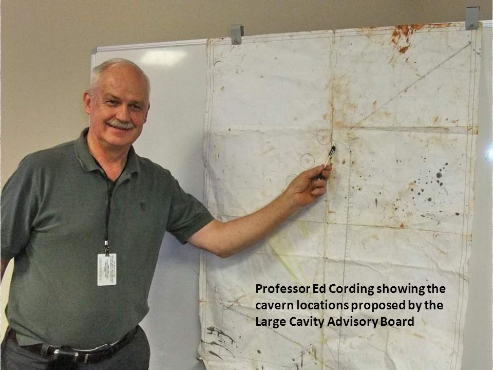 Professor Ed Cording showing the cavern locations proposed by the Large Cavity Advisory Board