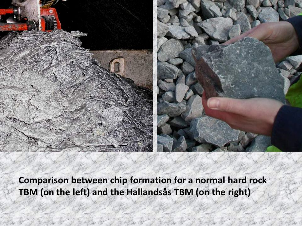 Comparison between chip formation for a normal hard rock TBM (on the left) and the Hallandsås TBM (on the right)