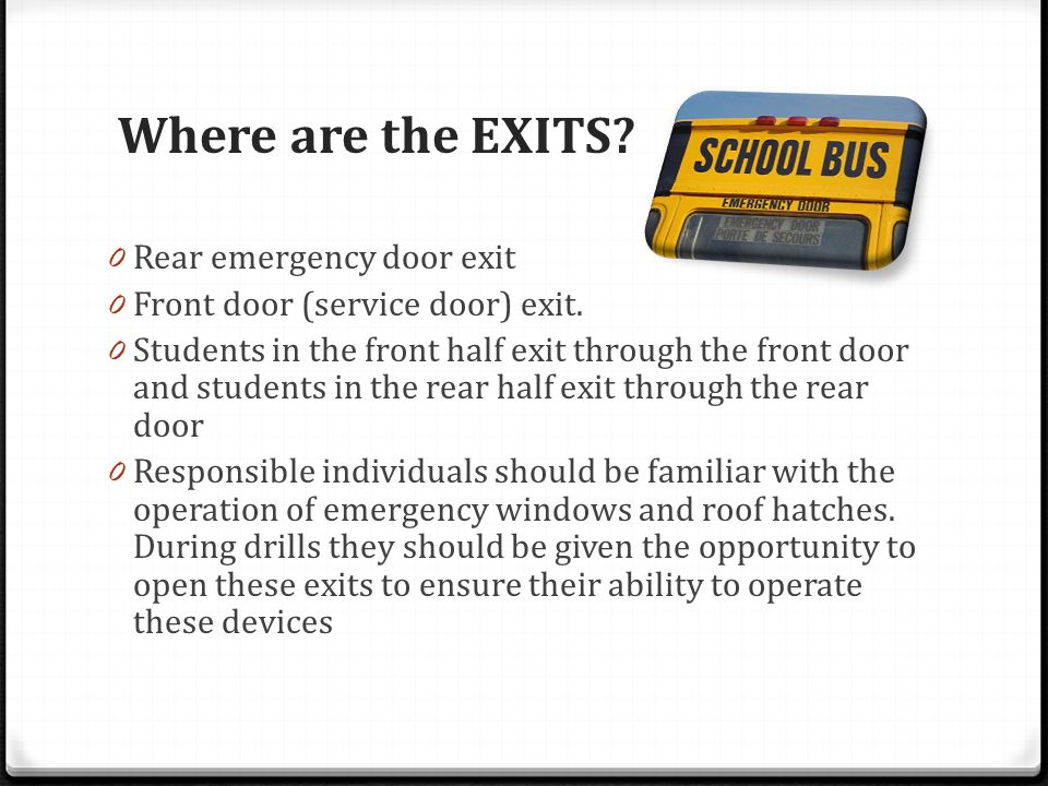 Where are the EXITS Rear emergency door exit