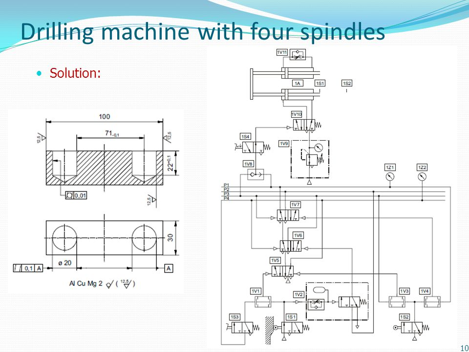 Drilling machine with four spindles