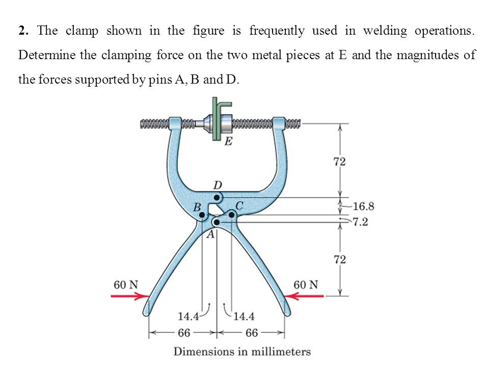 2. The clamp shown in the figure is frequently used in welding operations.