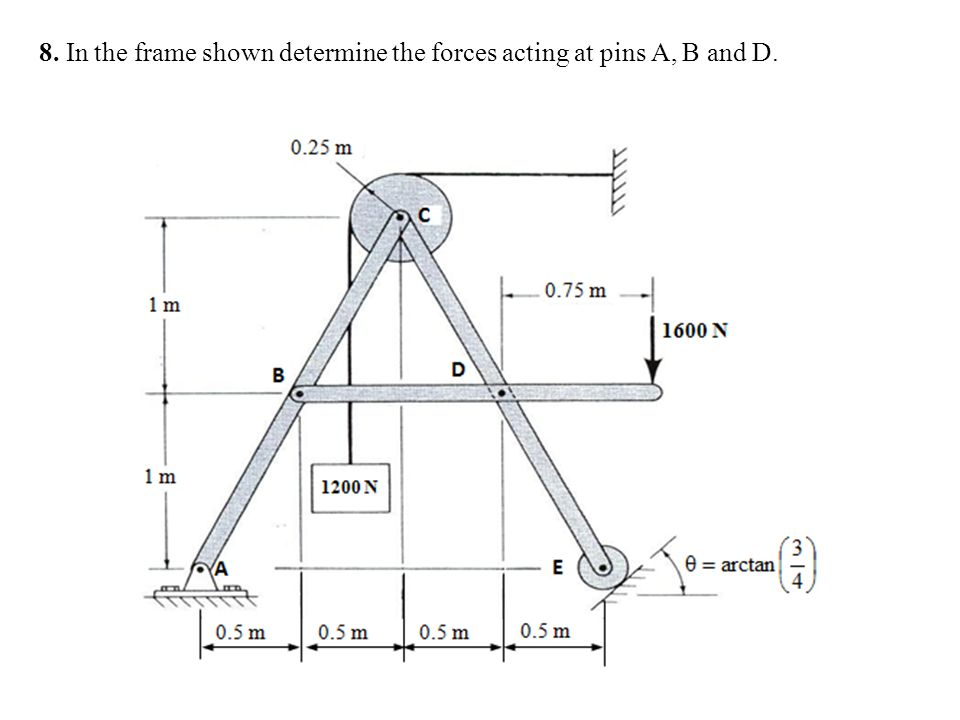 8. In the frame shown determine the forces acting at pins A, B and D.