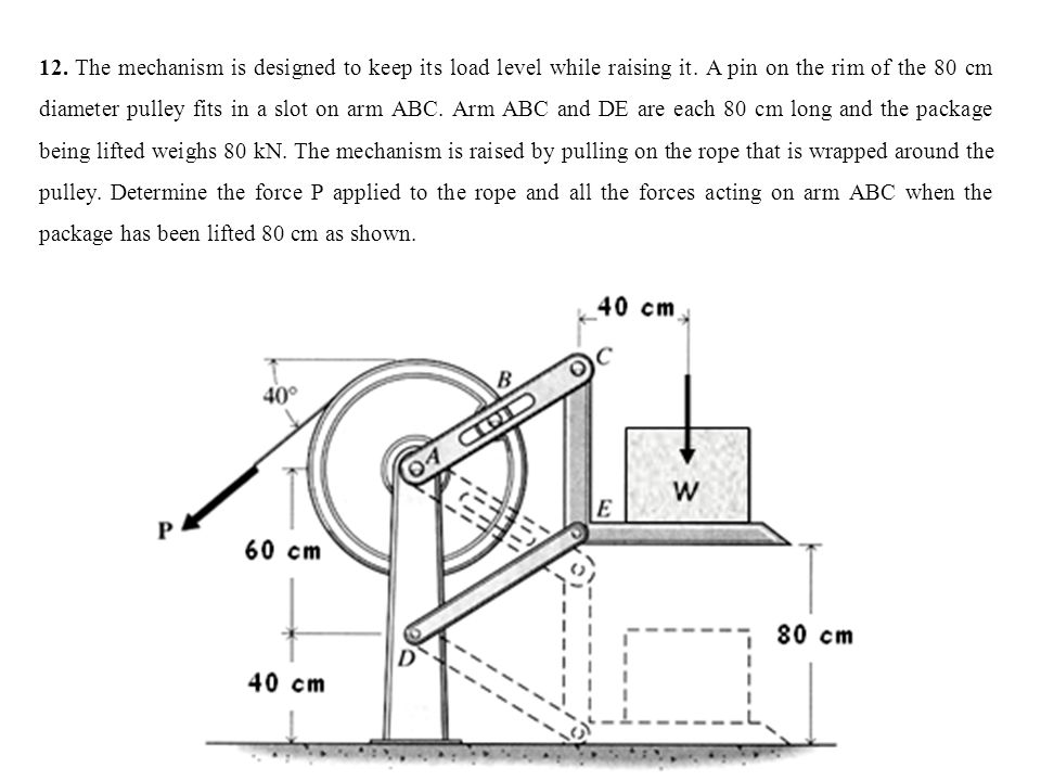 12. The mechanism is designed to keep its load level while raising it