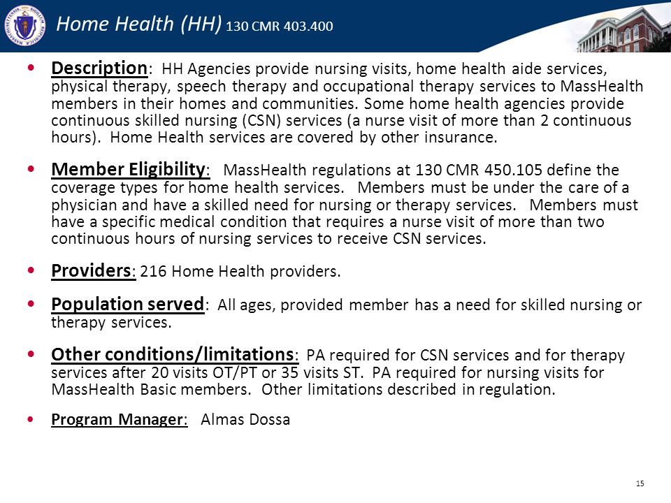 Home Health (HH) 130 CMR 403.400