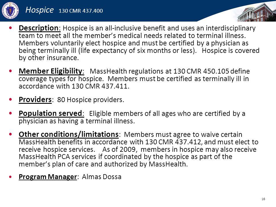 Hospice 130 CMR 437.400