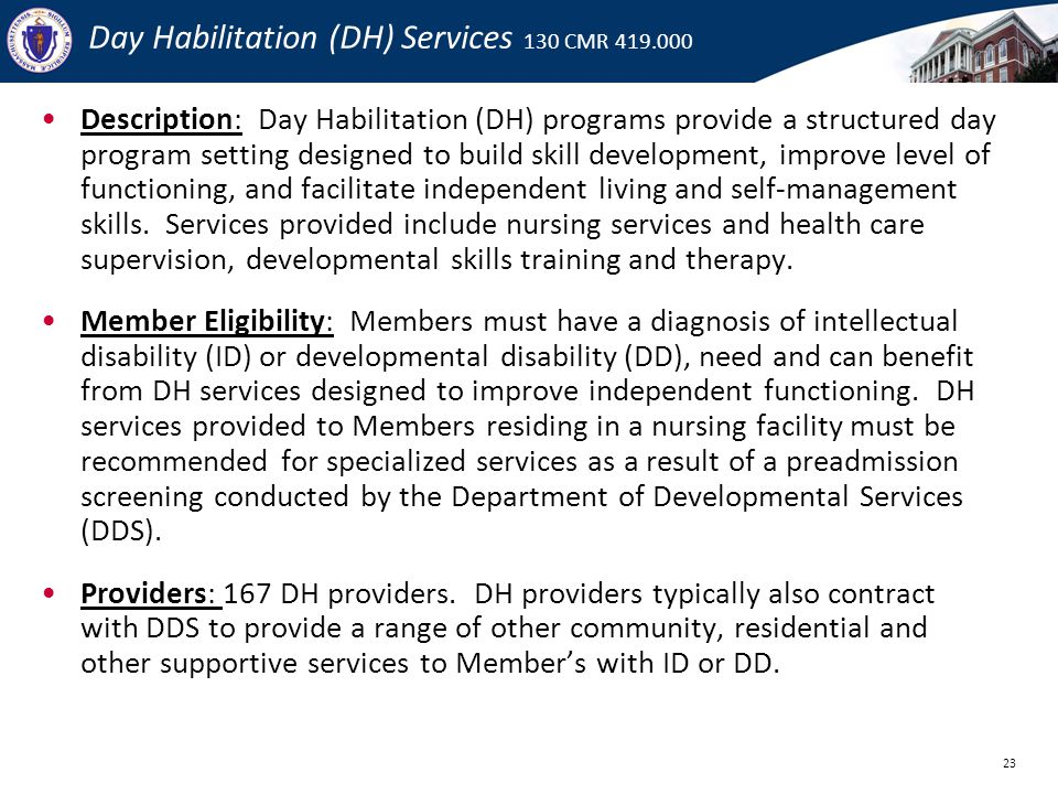 Day Habilitation (DH) Services 130 CMR 419.000