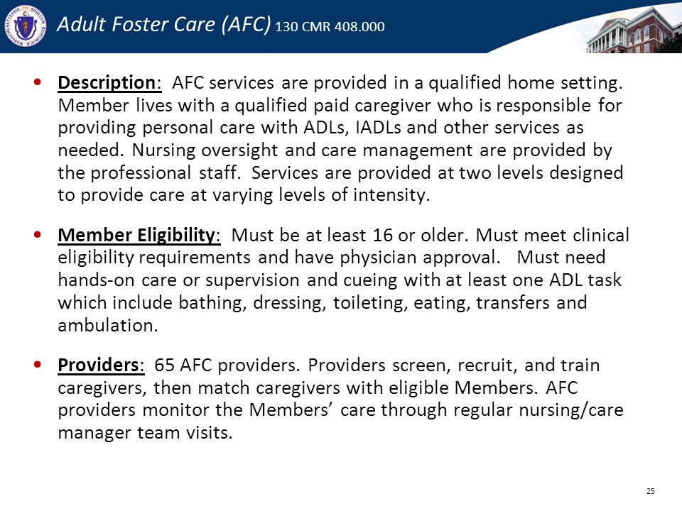 Adult Foster Care (AFC) 130 CMR 408.000