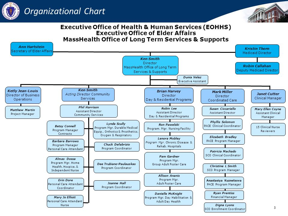 Organizational Chart Executive Office of Health & Human Services (EOHHS) Executive Office of Elder Affairs.