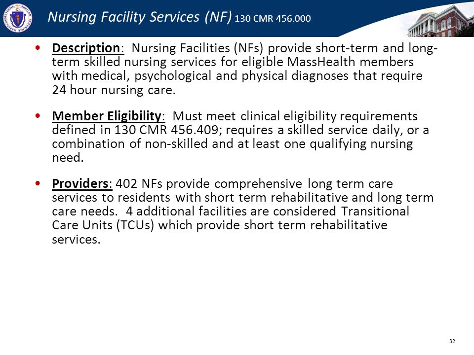 Nursing Facility Services (NF) 130 CMR 456.000