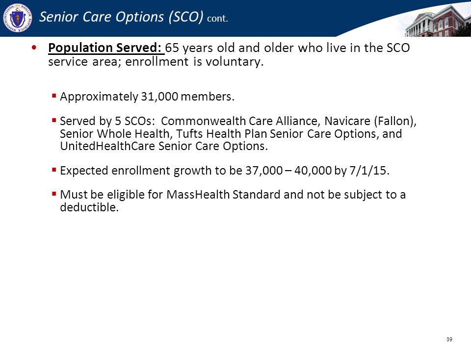 Senior Care Options (SCO) cont.