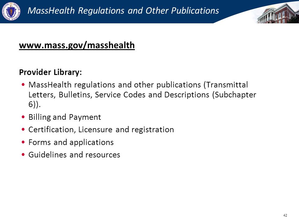 MassHealth Regulations and Other Publications