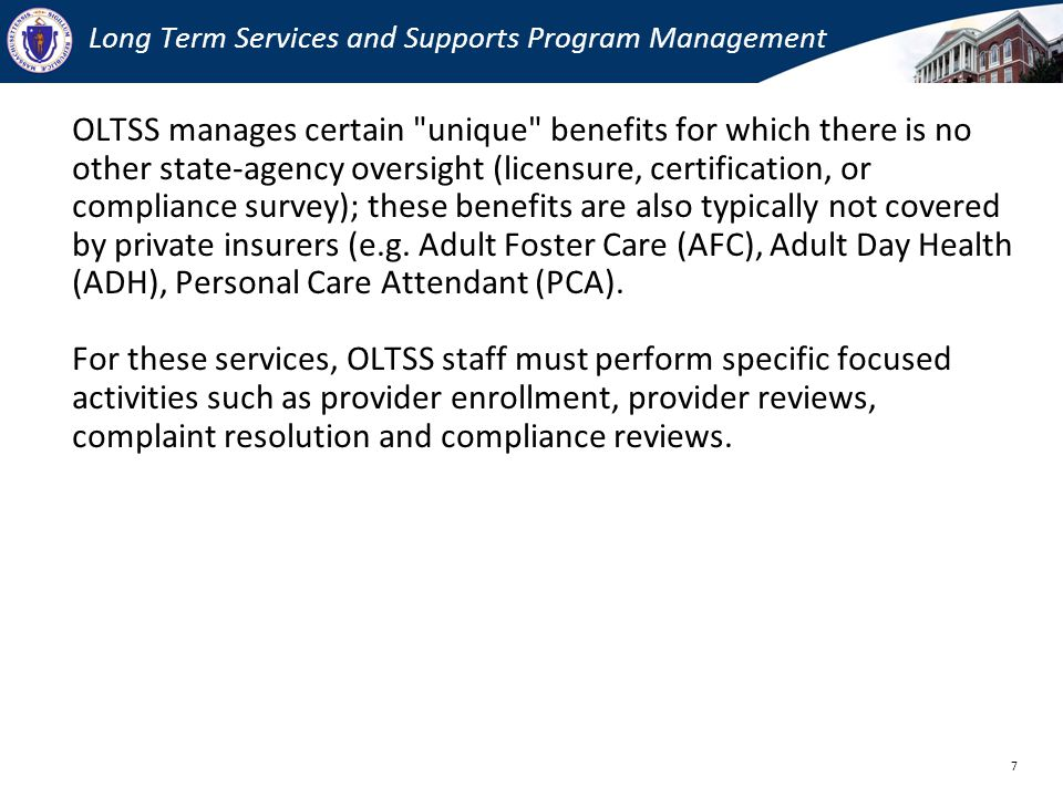 Long Term Services and Supports Program Management