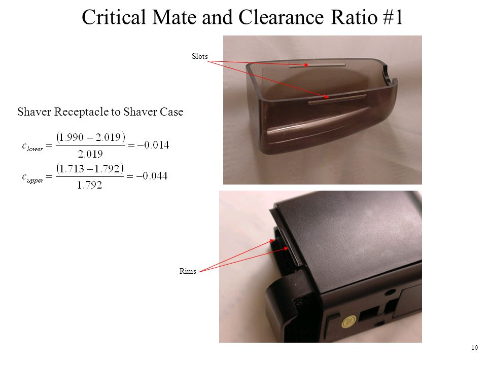 Critical Mate and Clearance Ratio #1