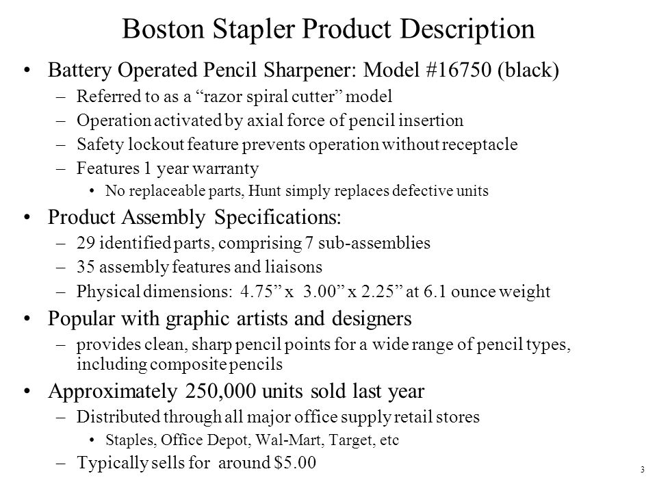 Boston Stapler Product Description