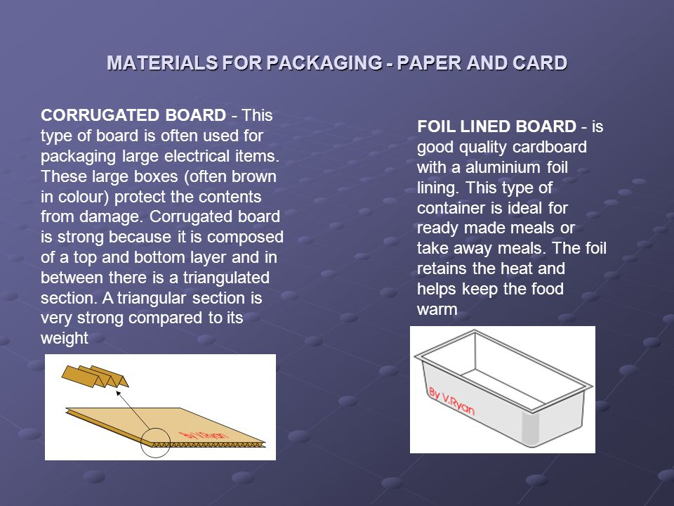 MATERIALS FOR PACKAGING - PAPER AND CARD
