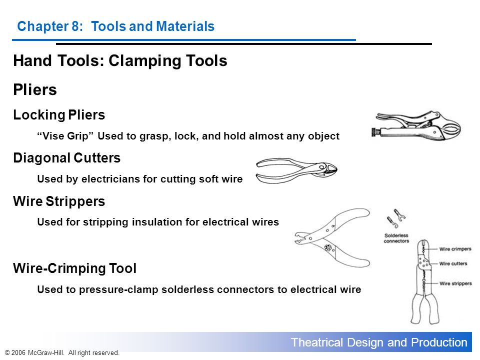 Hand Tools: Clamping Tools Pliers