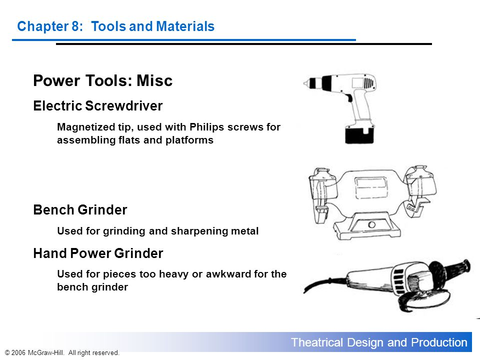 Power Tools: Misc Electric Screwdriver Bench Grinder