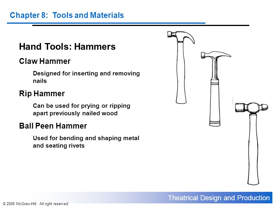 Hand Tools: Hammers Claw Hammer Rip Hammer Ball Peen Hammer