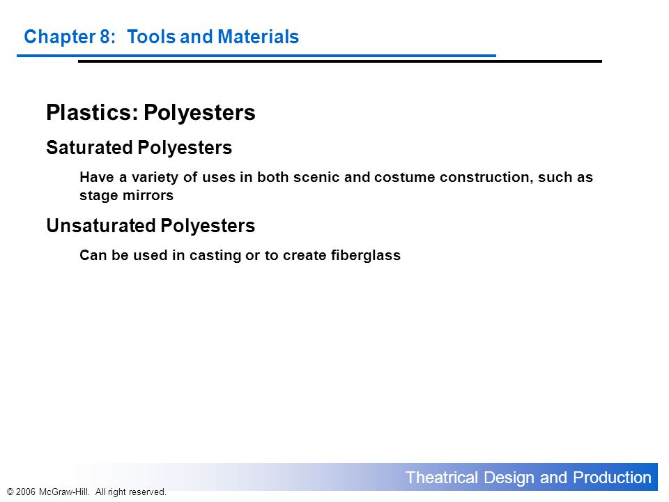 Plastics: Polyesters Saturated Polyesters Unsaturated Polyesters