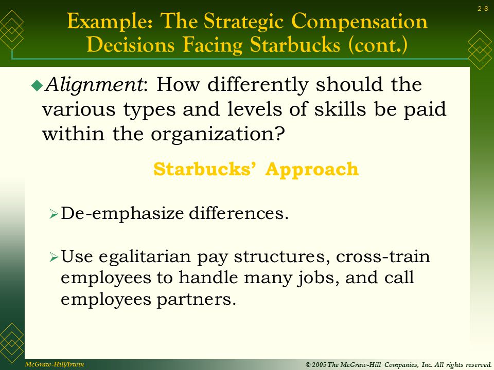 Example: The Strategic Compensation Decisions Facing Starbucks (cont.)