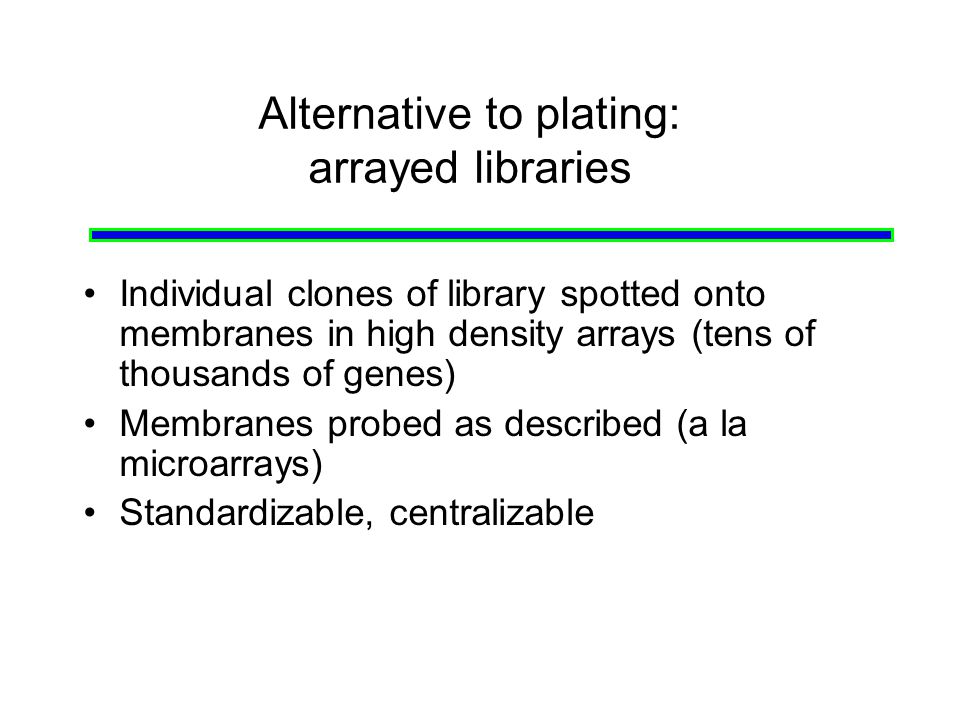 Alternative to plating: arrayed libraries