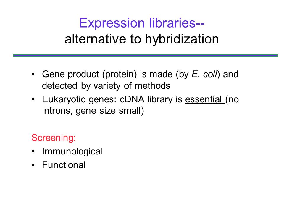 Expression libraries--alternative to hybridization